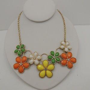 Flower Power Bib Necklace 70's Retro Look